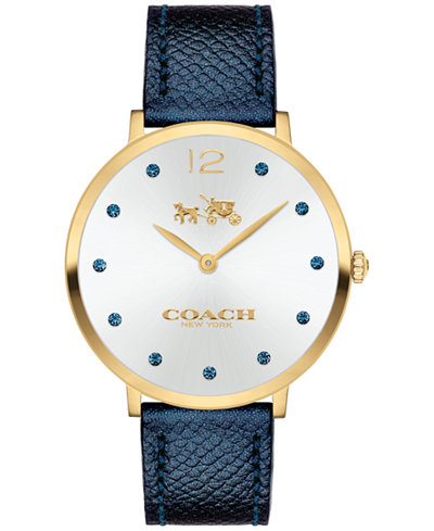 COACH Women's Slim Easton Blue Leather Strap Watch 35mm 14502687