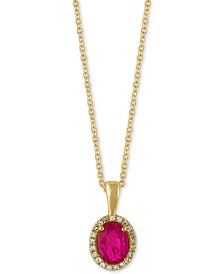 Amoré by EFFY® Certified Ruby (9/10 ct. t.w.) and Diamond Accent Halo Pendant Necklace in 14k Gold, Created for Macy's