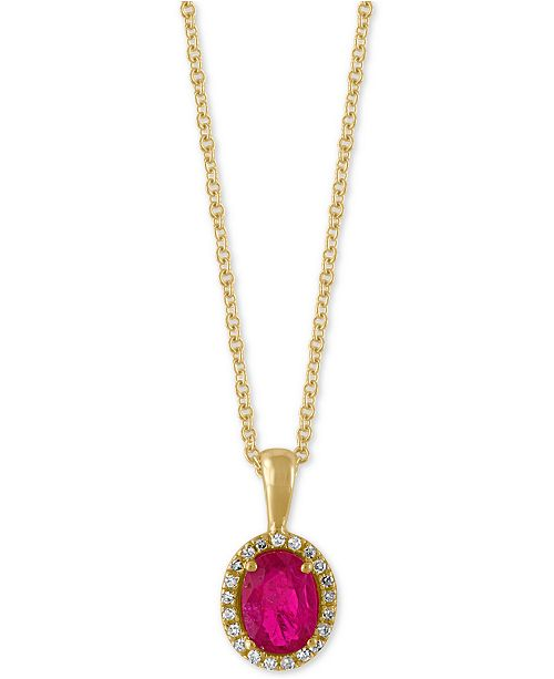 EFFY Collection Amoré by EFFY® Certified Ruby (9/10 ct. t.w.) and Diamond Accent Halo Pendant Necklace in 14k Gold, Created for Macy's