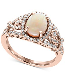 Aurora by EFFY® Opal (1 ct. t.w.) and Diamond (1/2 ct. t.w.) Ring in 14k Rose Gold