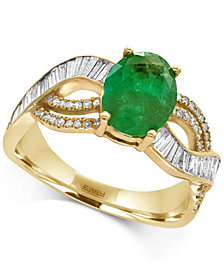 EFFY® Brasilica Emerald (1-1/2 ct. t.w.) and Diamond (1/2 ct. t.w.) Ring in 14k Gold, Created for Macy's