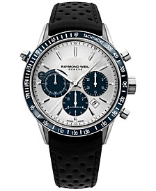 RAYMOND WEIL Men's Swiss Chronograph Freelancer Black Leather Strap Watch 43mm 7740-SC3-65521