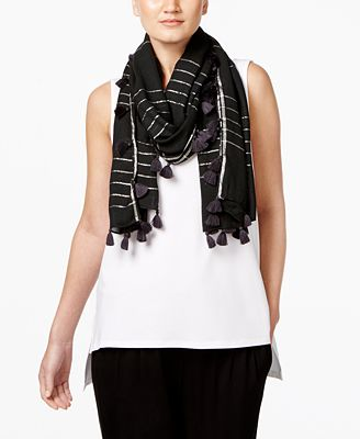 Eileen Fisher Striped Tassel-Trim Scarf
