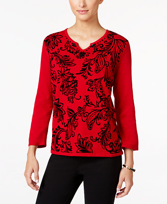 Alfred dunner petite wrap it up flocked sweater sweaters for Alfred dunner wedding dresses