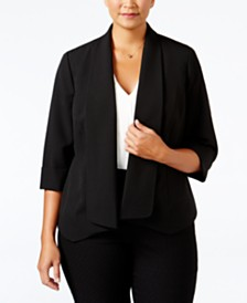 Kasper Plus Size Open-Front Soft Jacket