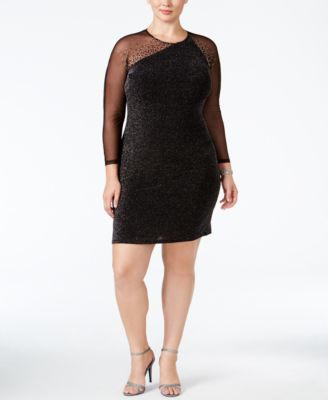 Calvin Klein Plus Size Metallic Illusion Sheath Dress