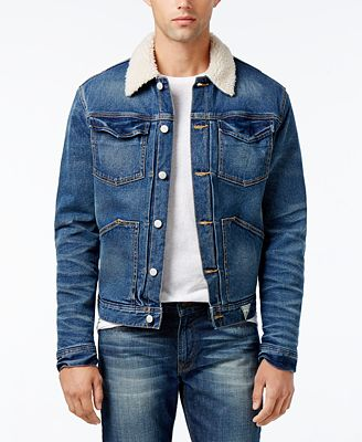 GUESS Men's Denim Jacket with Faux-Fur Collar - Coats & Jackets ...