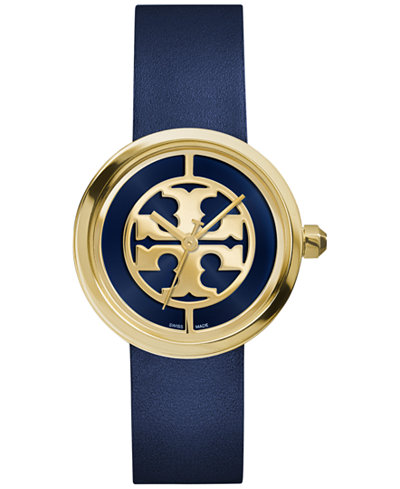 Tory Burch Women's Swiss Reva Navy Leather Strap Watch 36mm TRB4021