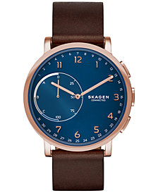 Skagen Connected Unisex Hagen Brown Leather Strap Hybrid Smart Watch 42mm SKT1103