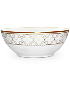 Noritake Trefolio Gold Dinnerware Collection Round Vegetable Bowl