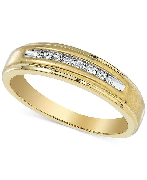 Macy's Men's Diamond Band (1/10 ct. t.w.) in 10k Gold