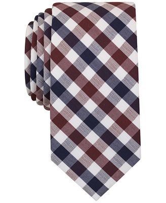 Bar III Men's Wine Blue Text Gingham Slim Tie, Only at Macy's