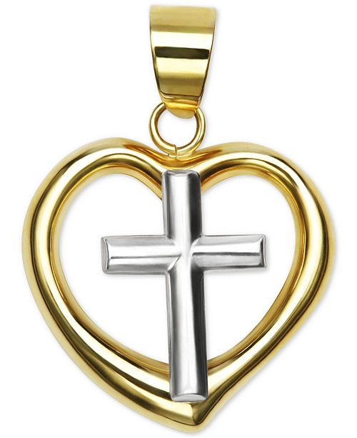 Macy's Polished Two-Tone Heart Cross Pendant in 14k Yellow and White Gold