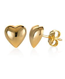 Dimensional Heart Stud Earrings in 10k Gold