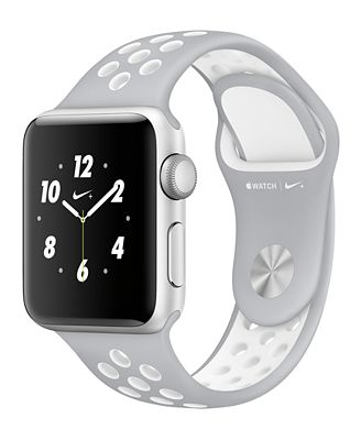 Apple Watch Nike+ 38mm Silver-Tone Aluminum Case with Flat Silver-Tone/White Nike Sport Band