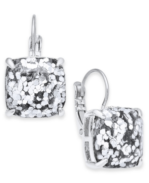 Kate Spade Small Square Glitter Leverback Earrings In Silver