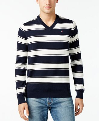 Tommy Hilfiger Mens Striped V Neck Sweater Created For Macys