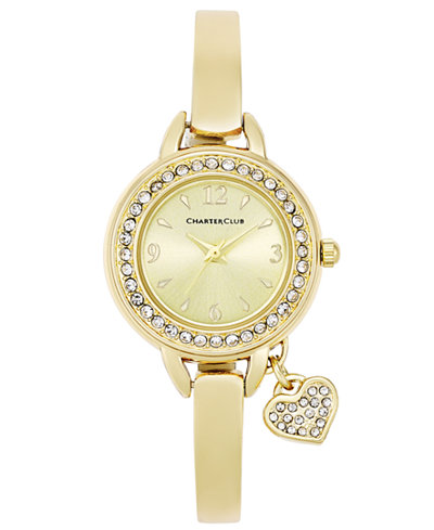 Charter Club Women's Heart Charm Gold-Tone Bangle Bracelet Watch 26mm, Only at Macy's