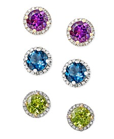 Semi-Precious Gemstone and Diamond Halo Cushion Stud Earrings in 14k White, Rose and Yellow Gold