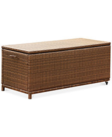 Antem Outdoor Wicker Storage Ottoman, Quick Ship