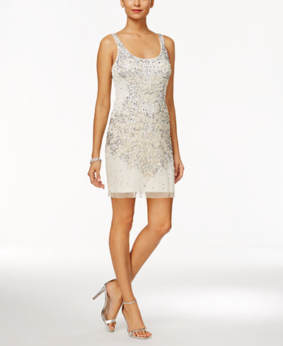 Adrianna Papell Beaded Sequined Sheath Dress - Dresses - Women - Macy\'s
