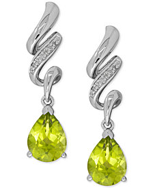 Peridot (2-1/2 ct. t.w.) and Diamond Accent Twist Drop Earrings in Sterling Silver