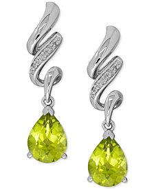 Peridot (2-1/2 ct. t.w.) and Diamond Accent Twist Drop Earrings in Sterling Silver