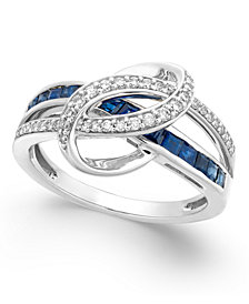 Sapphire (1 ct. t.w.) and Diamond (1/5 ct. t.w.) Swirl Ring in 14k White Gold (Also Available in Emerald and Certified Ruby)