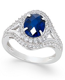 Lab-Created Blue Sapphire (2 ct. t.w.) and White Sapphire (3/4 ct. t.w.) in Sterling Silver