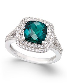Lab-Created Emerald (1-1/2 ct. t.w.) and White Sapphire (1/2 ct. t.w.) Ring in Sterling Silver