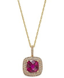 Lab-Created Ruby (2-1/2 ct. t.w.) and White Sapphire (1/3 ct. t.w.) Pendant Necklace in 14k Gold-Plated Sterling Silver