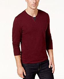 Alfani Men's Long-Sleeve Split Crewneck T-Shirt, Created for Macy's