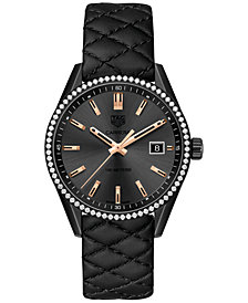TAG Heuer Women's Swiss Diamond (3/4 ct. t.w.) Carrera Black Quilted Leather Strap Watch 39mm WAR1115.FC6392