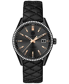 TAG Heuer Women's Swiss Diamond (3/4 ct. t.w.) Carrera Black Quilted Leather Strap Watch 39mm