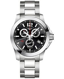 Men's Swiss Chronograph Conquest Stainless Steel Bracelet Watch 44mm L38004566