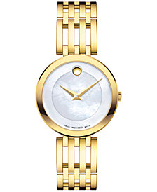 Movado Women's Swiss Esperanza Gold-Tone Stainless Steel Bracelet Watch 28mm 0607054