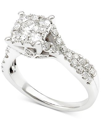 Diamond Crisscross Engagement Ring (1-1/4 ct. t.w.) in 14k White Gold