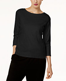 Eileen Fisher Three-Quarter-Sleeve Ballet-Neck Top, Regular & Petite
