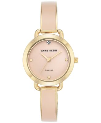 Image of Anne Klein Women's Diamond Accent Blush Enamel & Gold-Tone Bangle Bracelet Watch 30mm AK-2438LPGB