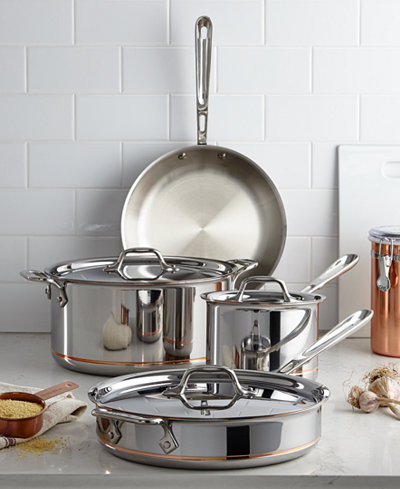 All Clad Copper Core 7 Piece Cookware Set Cookware