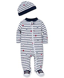 Baby Boys 2-Pc. Sports Star Hat & Footed Coverall Set