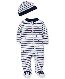 Little Me Baby Boys 2-Pc. Sports Star Hat & Footed Coverall Set