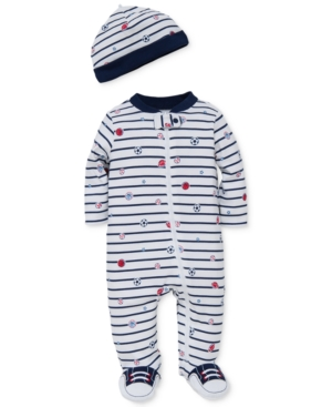Little Me Baby Boys 2Pc Sports Star Hat  Footed Coverall Set