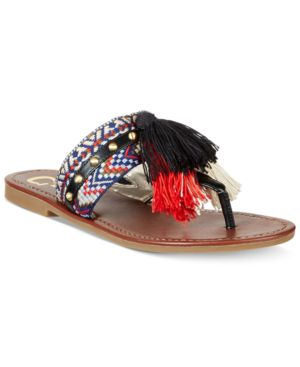 Circus by Sam Edelman Brice Embellished Fringe Thong Sandals Women