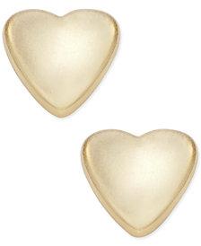 Polished Heart Stud Earrings in 14k Gold