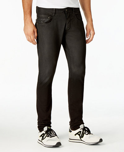 Armani Jeans Men's Extra-Slim Fit Stretch Coated Black Jeans