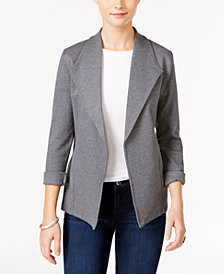 Style & Co Petite Open-Front Cotton Knit Blazer, Created for Macy's