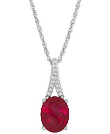 Lab-Created Ruby (3-5/8 ct. t.w.) and White Sapphire Accent Pendant Necklace in Sterling Silver