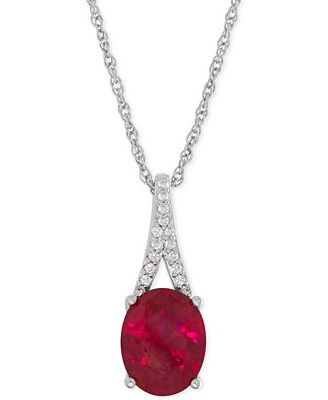 Fine Jewelry Lab-Created Ruby & White Sapphire Pendant Sterling Silver Necklace o0fyy