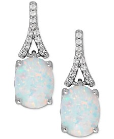 Lab-Created Opal (1-3/8 ct. t.w.) and White Sapphire (1/8 ct. t.w.) Drop Earrings in Sterling Silver